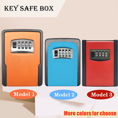 4-Digit Combination Lock Key Safe Box Storage Security Wall Mounted Home Outdoor