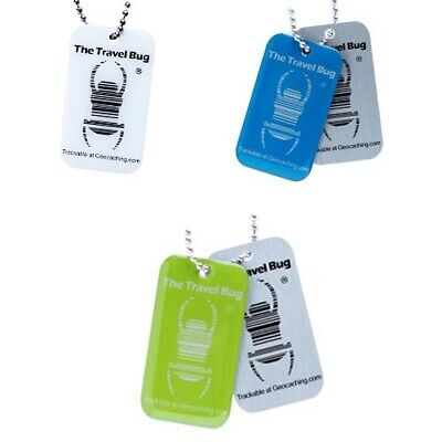3 x Geocaching Travel Bug® QR CODE Glow in Dark Traveltag Geocoin trackable