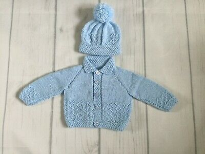 Hand Knitted Boys Diamond Pattern Cardigan And Matching Pom Pom Hat In Blue 0-3