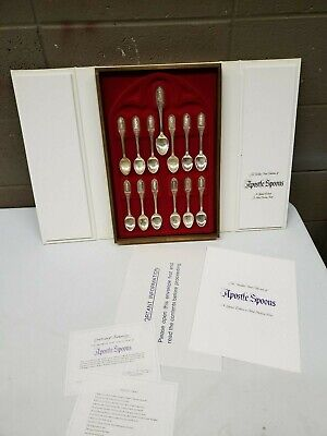 .925 Sterling Silver Franklin Mint Apostle Spoons Limited Edition Set 13 Spoons