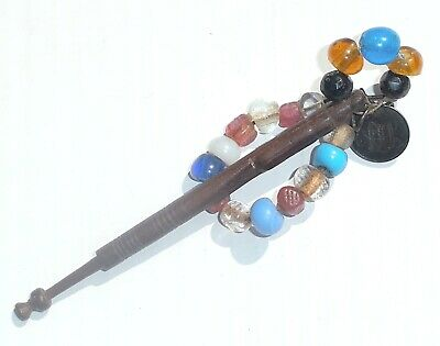 Victorian East Midlands Lace Bobbin with 1891 Silver Coin and Amber Beads