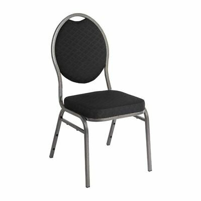 Oval Back Banquet Chair Seat with Steel Frame in Black - Frame 3 / 4(W)x7 / 16""