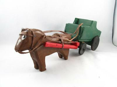 Quebec Primitive Folk Art Wood Carving Horse & Buggy By Emile Bluteau