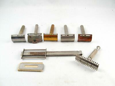 Lot Of 7 Vintage Safety Razor Gillette,Ever Ready,Durham Duplex,Ingersoll