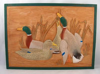 Mallard Duck Folk Art Wood Carved & Painted Wall Plaque Signed Leo Perreault
