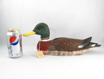 Quebec Folk Art Duck Decoy Wood Carved & Painted Signed Sculpture Tremblay