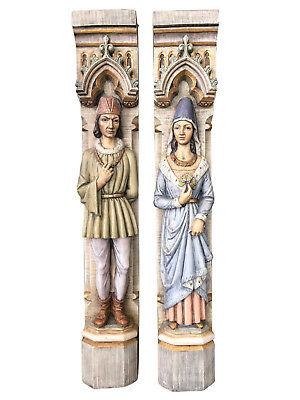 Large European Painted Fireplace Statues, Whimsical, 1950-60's #9452