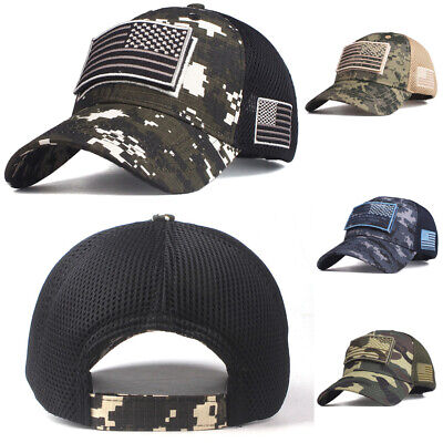 329dcad2 USA American Flag Hat Detachable Patch Cotton Baseball Mesh Military Army  Cap