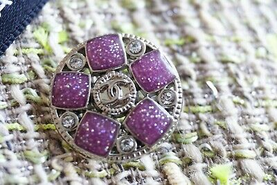 💜CHANEL BUTTONS  Lot 5  LOGO CC    size 20 mm 0,8 inch Crystals PURPLE