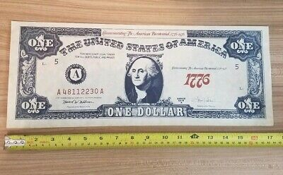 Vintage 1971 Howard Printing Corp Large Replica Bicentennial $1 Bill