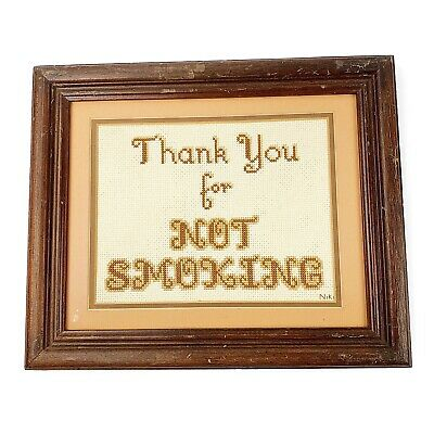 Vtg Thank You For Not Smoking Framed Needlepoint Rustic 70s Colors Eclectic