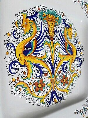 "Deruta Italian Pottery Tray Raffaellesco Greek Mythology Dragon 15.75"" Platter"