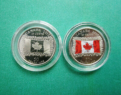 CANADA 2015 - 25 CENTS (2 Coin Set) - 50th Anniversary of the Canadian Flag