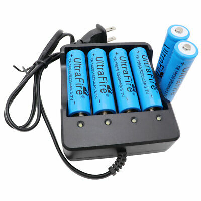 6 x 18650 3.7V 5000mAh Li-ion Battery Rechargeable&US Plug Charger for Doorbell