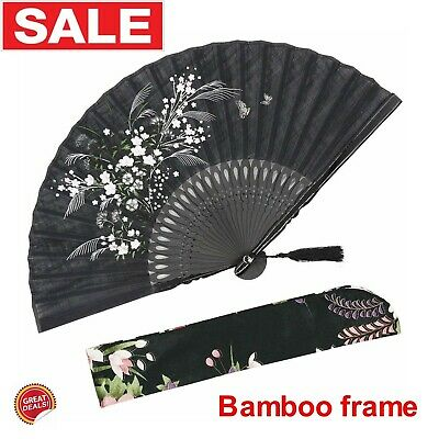 Japanese Folding Hand Held Face Fan Chinese Large Antique Vintage Travel Bamboo