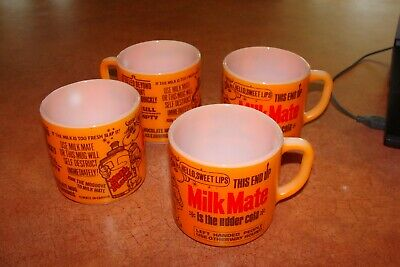 Federal Glass MILK MATE Set of Four White Glass Cup/Mug. Mate Canada.