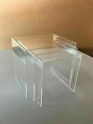 NEST OF 3 TABLES  Clear Acrylic,Polished Edges