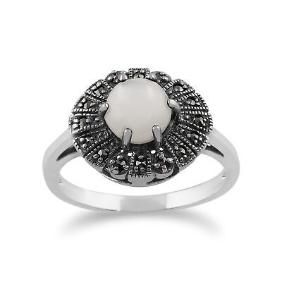Gemondo 925 Sterling Silver 0.85ct Mother of Pearl & Marcasite Art Deco Ring