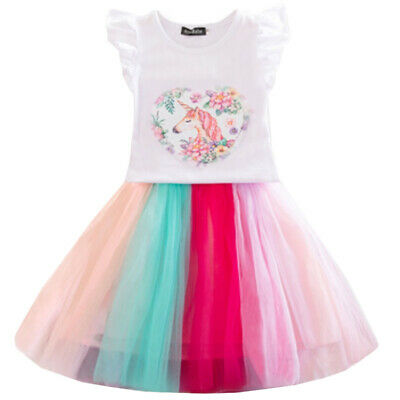 Girls Kids Party Tutu Tulle Skirt Dress Rainbow Lace Mini Dresses Outfit Clothes