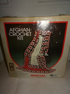 Vintage New Old Stock National Yarn Crafts Afghan Crochet Kit Americana #5049