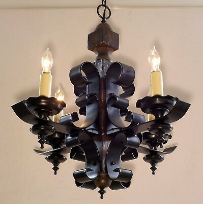 Vintage Wrought Iron Wood Gothic Tudor Medieval Chandelier Ceiling Light Fixture