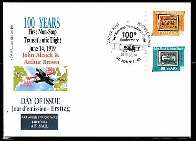 ALCOCK Transatlantic Flight  Anniv-'P' & $2.65- 4 cancel CDN Picture Postage FDC