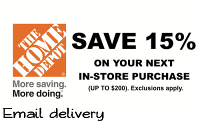 ONE (1x) 15% OFF Home Depot PRINTABLE 1COUPON. EXP. 07/22/19