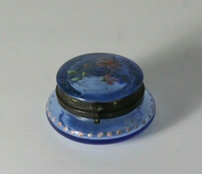 Antique Victorian Moser Enamel Painted Flower Blue Glass Patch Pill Trinket Box