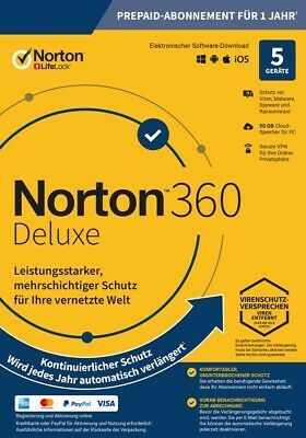 NORTON 360 DELUXE 5-Geräte / 1-Jahr Internet Security 2019 PC/Mac/Android / KEY