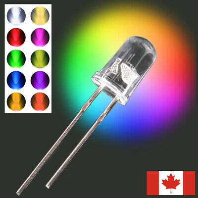 200 5mm LED diodes - various colors - red blue green white LEDs lights wires