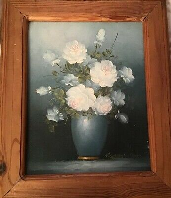 Vintage Robert Cox oil painting Vase Of White Roses with Pink Tinge Pine Framed