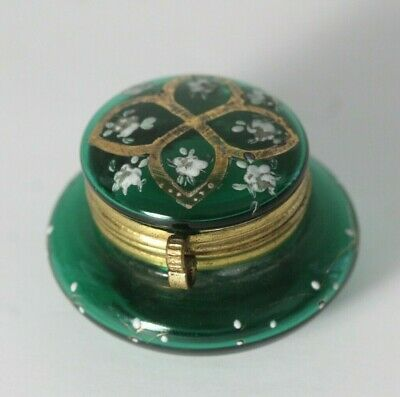 Antique Victorian Moser Enamel Painted Flower Green Glass Patch Pill Trinket Box