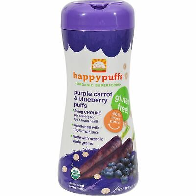 Happy Baby Bites Puffs Organic  Purple Carrot & Blueberry 2.1 Oz 6 Case  6 Pack