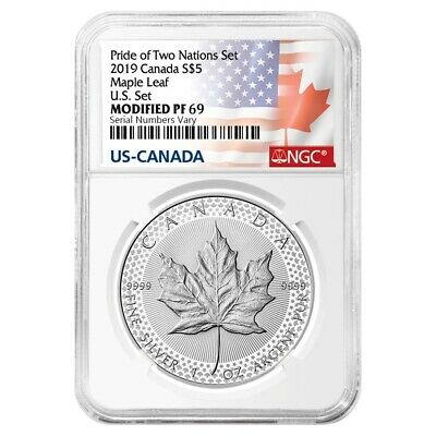 2019 1 oz Modified Proof Silver Maple NGC PF 69 Pride of Two Nations - Two Flags