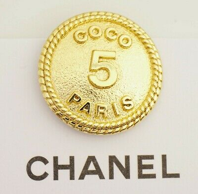 VINTAGE CHANEL BUTTONS 20 mm CO CO PARIS GOLD TONED METAL