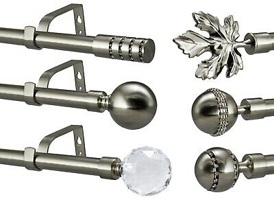 Brushed Chrome Extendable Metal Curtain Pole Rod 19mm Diameter Length Up To 4m