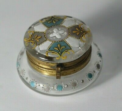Antique Late 19thC Moser Enamel Painted Blue & Gilt Glass Patch Pill Trinket Box