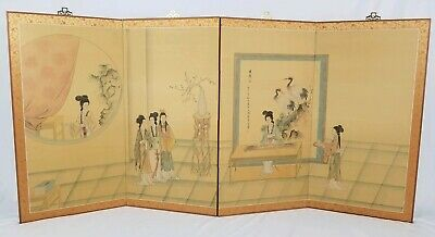 Vintage Japanese Geisha Painted Silk Screen 4 Panel Folding Divider Asian 71""