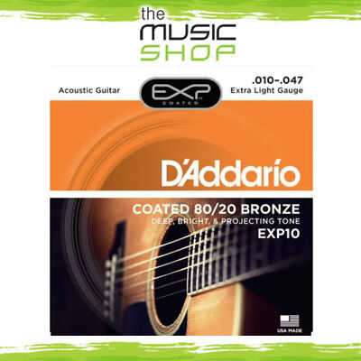 D'Addario EXP10 Coated 80/20 Bronze Ex. Light Acoustic Guitar Strings - Daddario