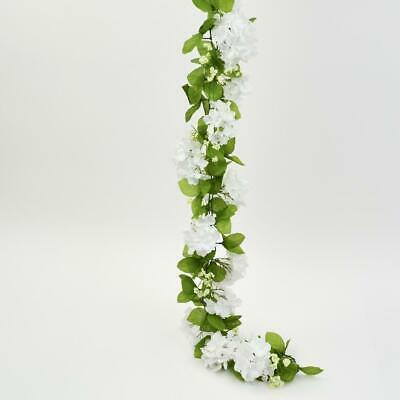 Artificial Hydrangea Flower Garland 6 Feet White