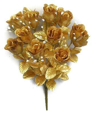 Lot of 12 Artificial Gold Rose Bushes 168 Silk Flower Rose Buds
