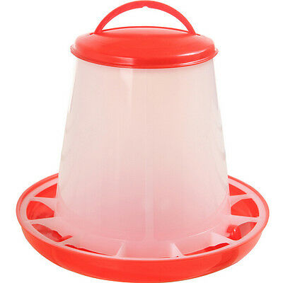 1.5kg Red Plastic Feeder Baby Chicken Chicks Hen Poultry Feeder Lid Handle ^P
