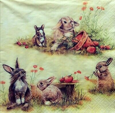 3x Paper Napkins for Decoupage  Decopatch Craft- Rabbits