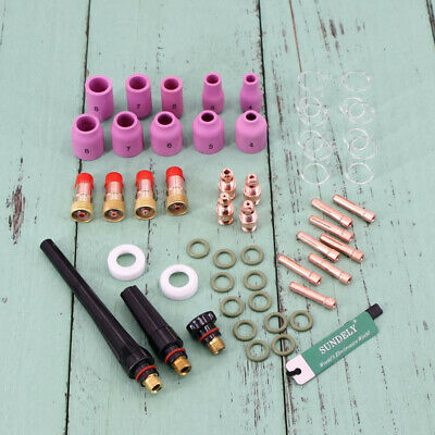 Brand New 49Pcs tig welding torch stubby gas lens glass cup kit for wp-17/18/26
