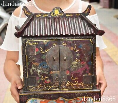 Old China Buddhism temple lacquerware wood lion beast Buddha Home Shrines Fokan