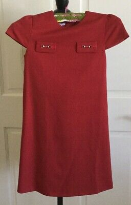 fef9af4e7 AUTH Gucci girl's Dark Red Horsebit-Accented shift dress Classic Sz 10