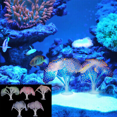 Fluorescent Coral Plant Aquarium Glow In The Dark Fish Tank Ornament Decor IT~PL