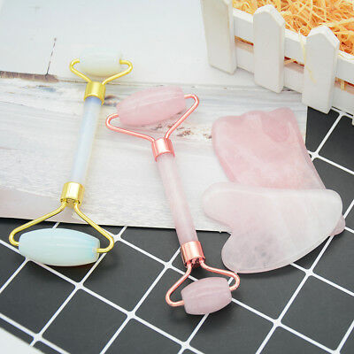 Natural pink rose quartz crystal stone gua sha roller face neck beauty massag~PL