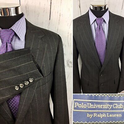 RALPH LAUREN POLO UNIVERSITY CLUB MENS SUIT JACKET BLAZER SZ 40L Striped