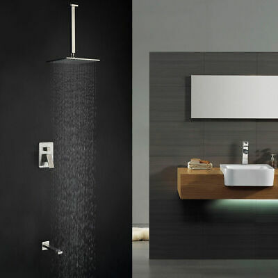 Contemporary Brushed Nickel Brass Ceiling Mount Rain Shower & Tub Filler System
